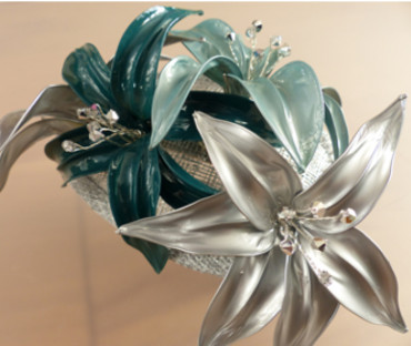 Handmade Fascinator - silver and green lillies with swarovski crystals