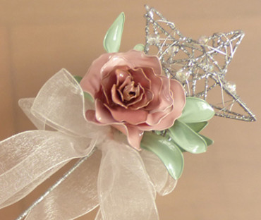 Flower Girl, Bridesmaid Wand - glitter star, flowers and ribbon