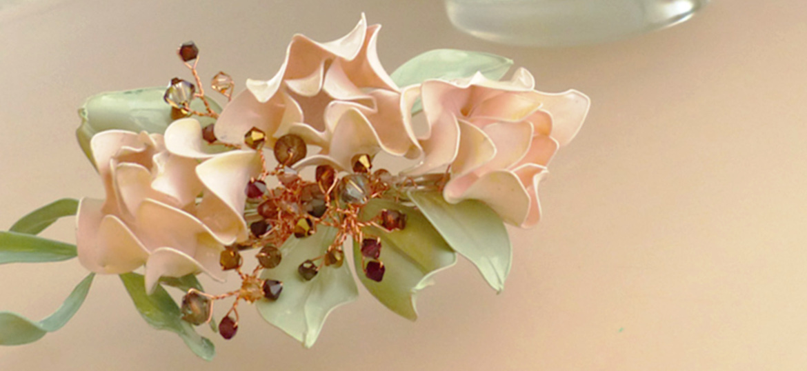 Bridal Hair Clip Accessory - flowers, leaves and swarovski crystals